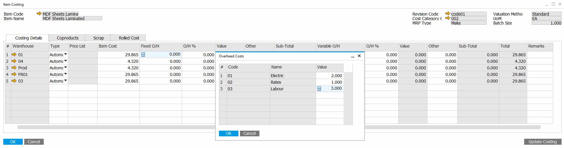 SAP Business One and ProcessForce cost calculation