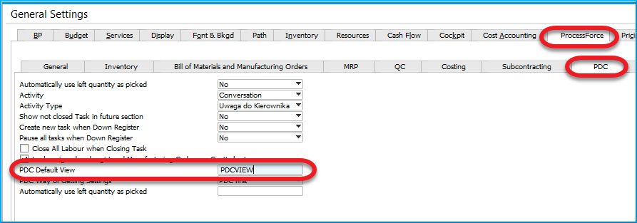 PDC Default View name