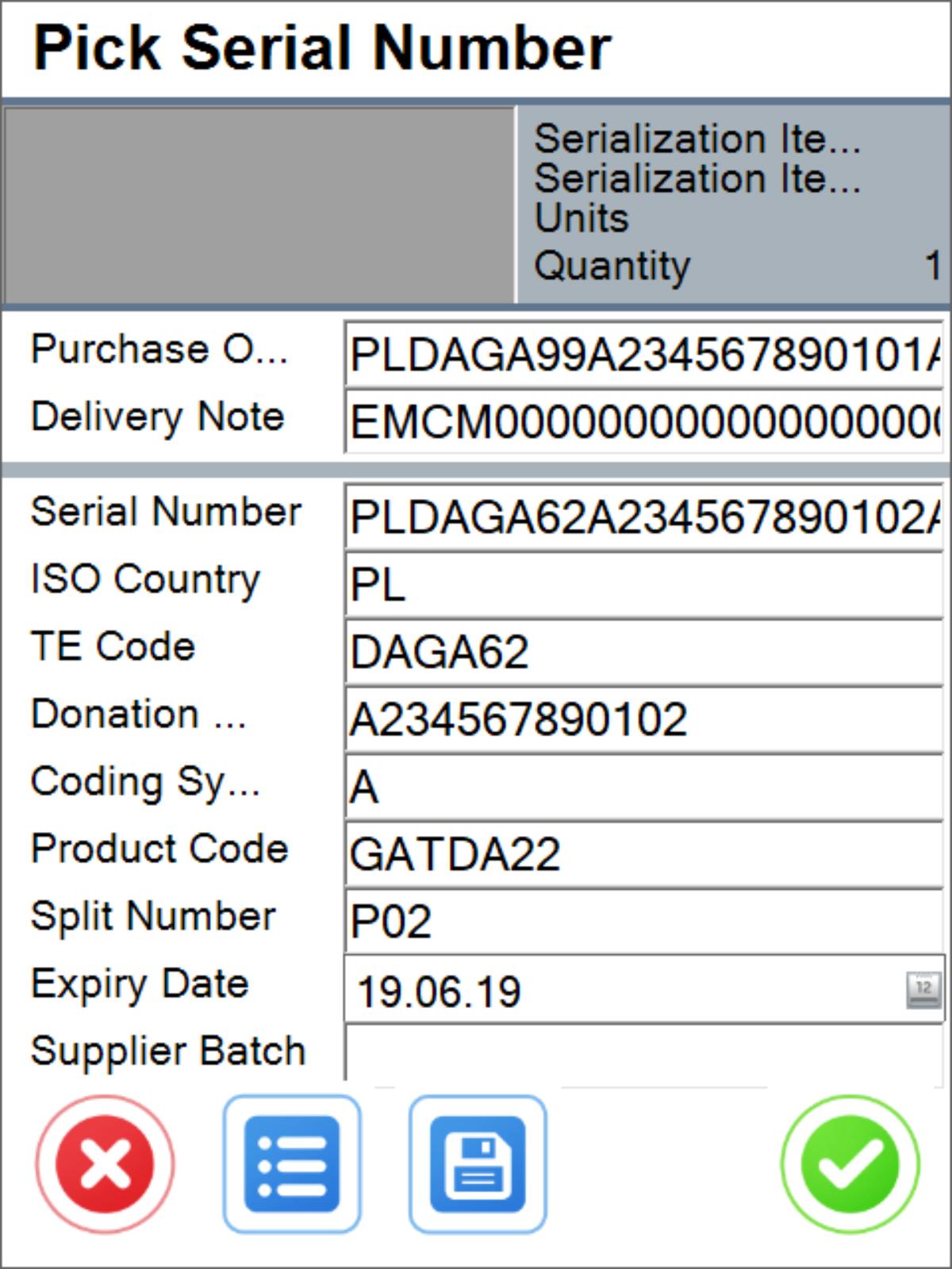 Pick Serial Number